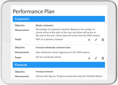 Performance Plan screenshot